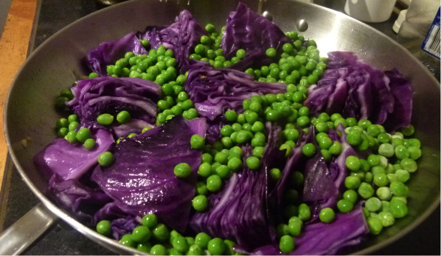 Braised Red Cabbage and Peas #