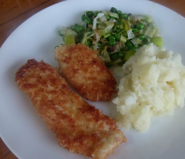 Chicken Schnitzel with Mash and Garlicky Leek and Peas #