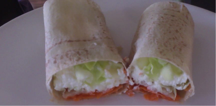 Cheese, carrot and lettuce Wrap  or Rice Cake
