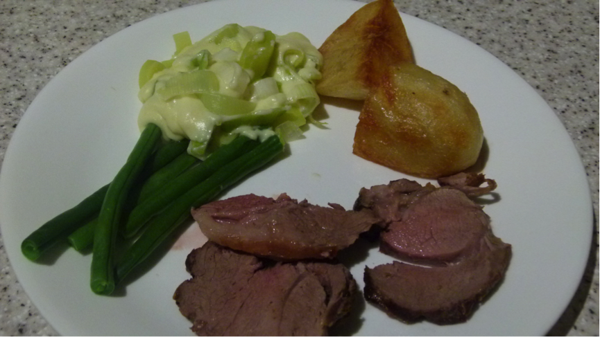 Roast Lamb with Roast Potato, Leek in White sauce and Green beans