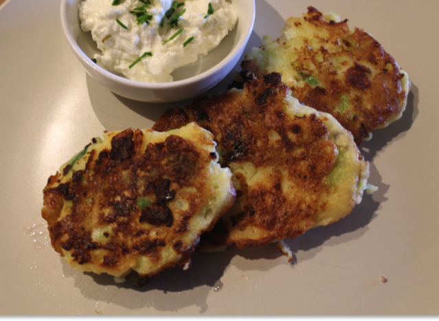 Choko and Spring Onion Fritters and Cottage Cheese