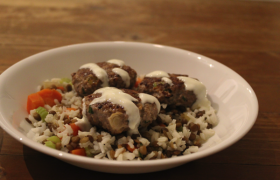 Lamb Rissoles with Braised Lentil Rice