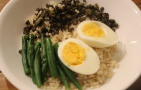 Boiled Egg with Brown Rice and Lentils and Green Beans