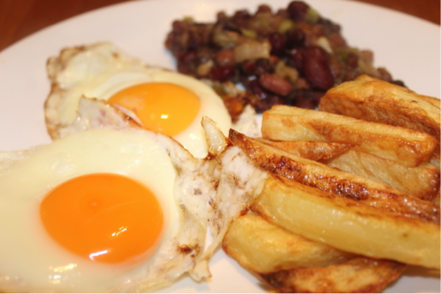 Eggs, Chips and Home Made (Tomato Free) Baked Beans