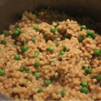 Barley, Cream Cheese and Green Pea Rissotto (G)