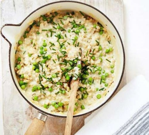 Barley and Creamy Pea and Chive Rissotto #