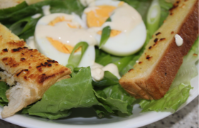 Egg and Garlic Toast Salad