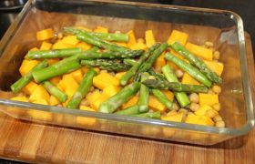 Butternut Pumpkin, Asparagus and Chickpea Bake (S)