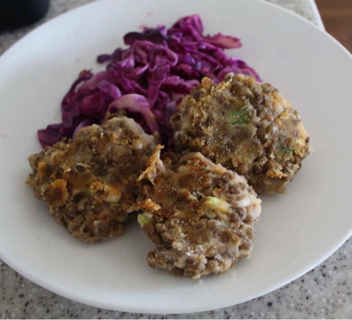 Sweet potato and Lentil Patties with Braised Red Cabbage and Green Beans *