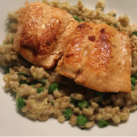Fish with Barley, Cream Cheese and Green Pea Risotto (G)