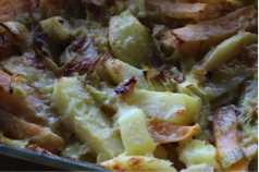 Potato, Swede and Leek Gratin