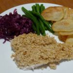 Cashew Chicken with scalloped potatoes, braised red cabbage and green beans